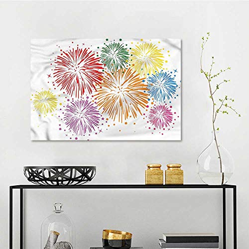 one1love Colorful Pattern Oil Painting Happy Celebration Firework A for Your Relatives and Friends W35 -
