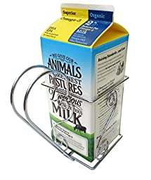 Cara\'s Casa 1/2 Gallon Juice or Milk Carton Holder - Elegant, Easy Grip Holder with Handle Makes Holding and Pouring Trouble-Free. Sturdy Metal Construction. Nice for Home Kitchen Gifts and Housewarming Gift Ideas.