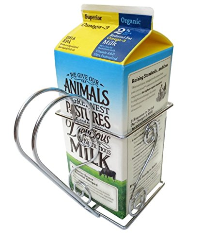 Cara's Casa 1/2 Gallon Juice or Milk Carton Holder - Elegant, Easy Grip Holder with Handle Makes Holding and Pouring Trouble-Free. Sturdy Metal Construction. Nice for Home Kitchen Gifts and Housewarming Gift Ideas. (Ideas Setting Table Breakfast)