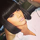 Amecire Short Black Bob Wigs with Bangs for Black Women Synthetic Straight Red Bob Hair African American Wigs for Women (1B)