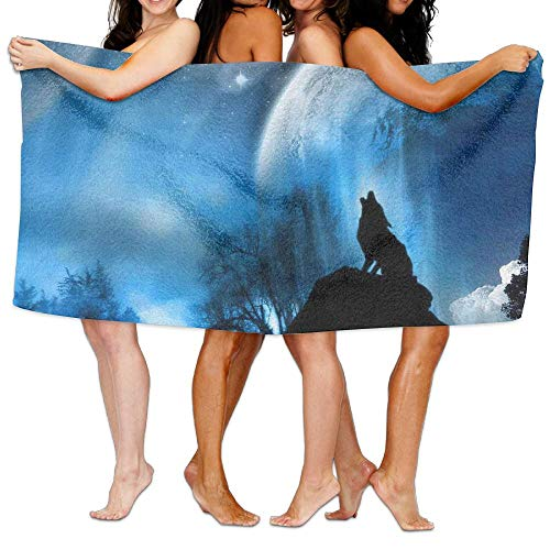 BLACK SP Wolf Lookout Microfiber Quick Dry Towel - Beach Towels Pool & Travel Towel 31.5 in X 51.18 in for Kids & Adults for Camping,Sport,Pool,Yoga Detroit Lions Embroidered Towel
