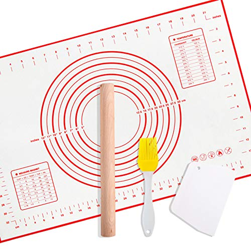 Large silicone pastry mat,extra thick non stick baking mat,with measurement fondant mat,pizza mat,dough rolling mat,pastry mats for rolling dough(with oil brush, cutting knife and rolling pin)…