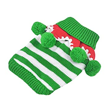 34264e38f98ca Striped Christmas Pet Sweater Knitwear Costume for Winter for Cat Small Dog  Puppy Green White Stripes XXS: Amazon.co.uk: Pet Supplies