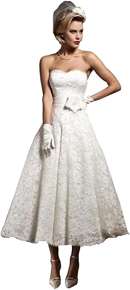 Dingdingmail Wedding Dress Sweetheart Tea Length Wedding Gown Lace