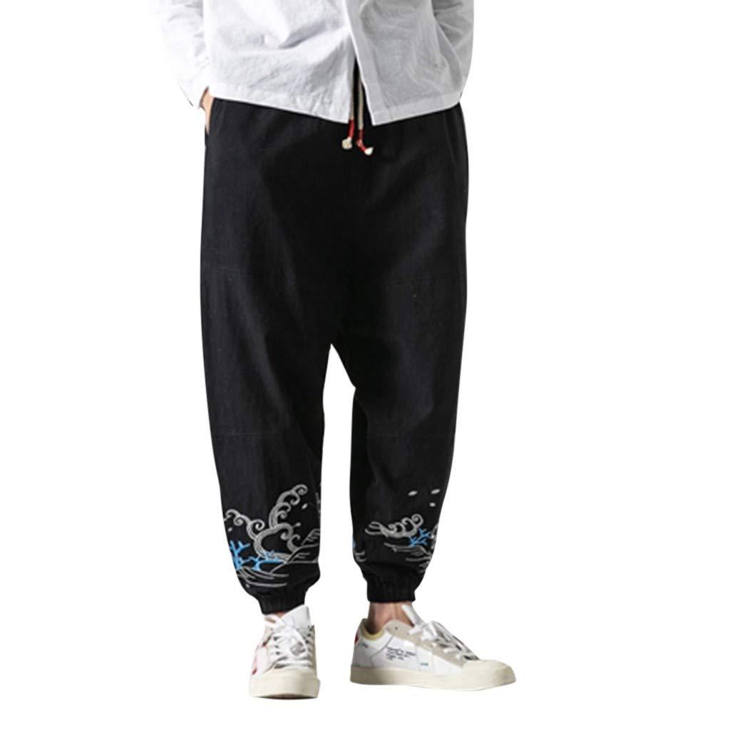 Aleola Men's Flax Retro Trousers Large Individualized Printed Trouser (Black,M) by Aleola_Men's Pants
