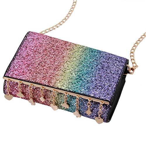 Evening Holographic jb00463 Women Bag Bag Heart Purse Candice Multi Shiny Crossbody color Hologram Bag Shoulder Handbag xPZRdzw
