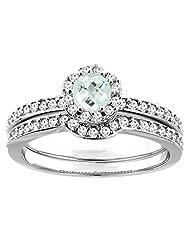 10K White Gold Natural Aquamarine 2-pc Bridal Ring Set Diamond Accent Round 4mm, sizes 5 - 10