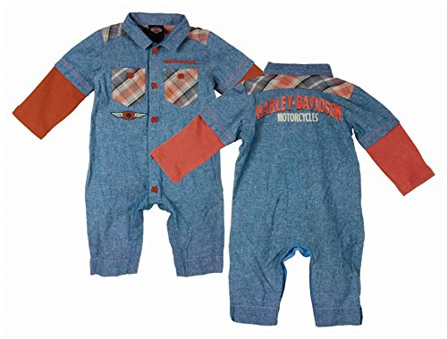 Harley-Davidson Boys Baby Chambray Denim Blue Long Sleeve Coverall (18M) (Toddler Boy Harley Davidson)