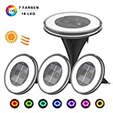 Solar Garden Lights, GEEDIAR Solar Ground Lights - 18 LEDs RGB Color Changing Solar Lights IP67 Waterproof Pathway Lights Outdoor Decking Landscape Lamp for Lawn Yard Poor - Warm White + RGB (4 Pack)