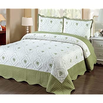 Amazon.com: Fancy Linen 3pc Bedspread Quilted Bed Cover Queen/king ... : quilted bedcover - Adamdwight.com