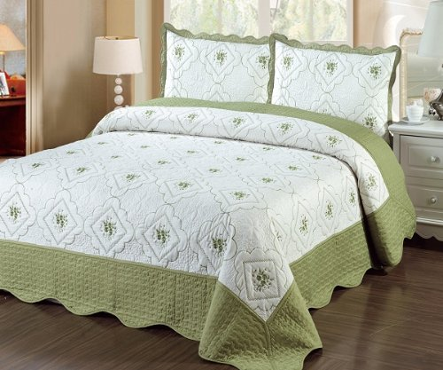 Fancy Linen 3pc Bedspread Quilted Bed Cover Queen/king (sage)