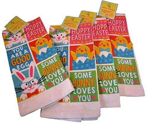 Home Treasures 100% Cotton Easter Springtime Dish Towels - Set of Four (Chick and Bunny -