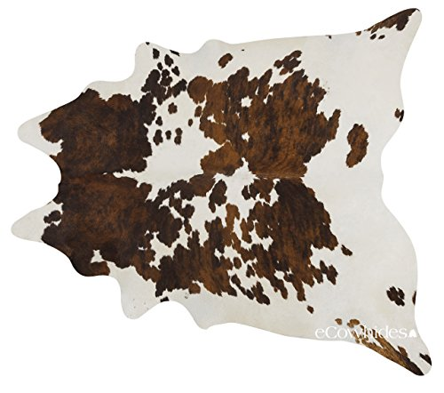 ecowhides Tricolor Brazilian Cowhide Area Rug, Cowskin Leather Hide for Home Living Room (XXL) (Cowhide Flap)