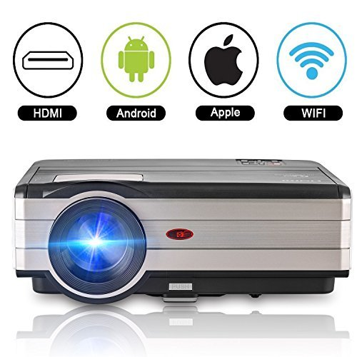 Home Theater Projector Android 3500 Lumen Support WiFi Connection 1080p Full HD, LED Projector Wireless with Speaker HDMI Cable Remote for Laptop Mac Phone iOS DVD TV Blue Ray Player by CAIWEI