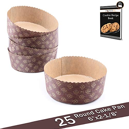 Round Paper Baking Cake Pan, Disposable Baking Mold 25ct, All Natural FDA Approved, Recyclable, Microwave Oven & Freezer Safe, Providing Beautiful Display For Baked Goods.(6x2-1/8)