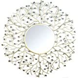 Alsina Crystal Bead Champagne Round Wall Mirror