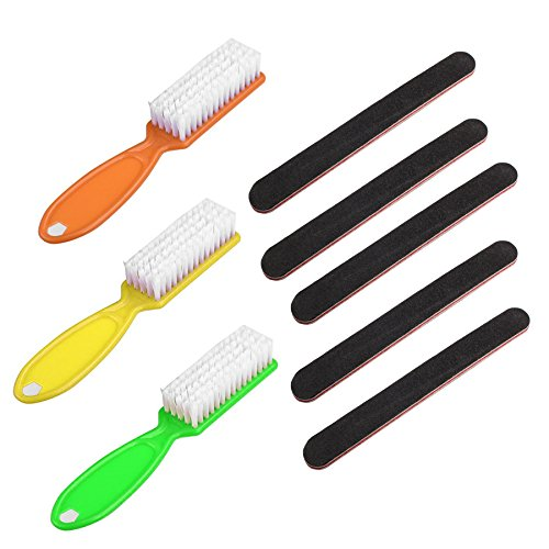 Nail Care Emery Board (5-Pack) and Nail Scrub Brushes (3-Pack) - For Manicure Pedicure - Fingernails and Toenails - Say No to Nail - Pedicure Scrub