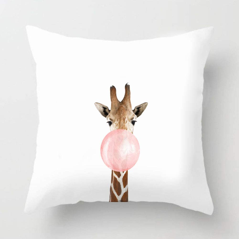 Asamour Adorable Animal Blowing Bubbles Gum Decorative Pillow Covers Super Soft Throw Pillow Case Cushion Cover 18''x18'' for Home Sofa Decor (Giraffe)