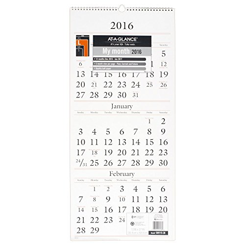 AT-A-GLANCE Wall Calendar 2016, 3 Month View, 12 x 27 Inches (SW115-28)