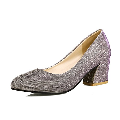 Allhqfashion Dames Pull Op Spitse Neus Kitten Hakken Mix Materialen Solide Pumps-schoenen Goud