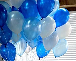 """Shipping Free--germany 10"""" Advertising Natural Latex Pearl White&blue&light Blue Balloons 100pcs/pack"""