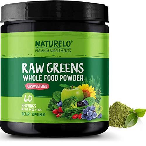 Powder Alkalizing (NATURELO Raw Greens Superfood Powder - UNSWEETENED - Boost Energy, Detox, Enhance Health - Organic Spirulina & Wheat Grass - Whole Food Vitamins from Fruit & Vegetable Extracts - 60 Servings)