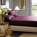 ElleSilk Silk Fitted Sheet, Seamless Silk Sheets, 22 Momme, Premium Quality, 100% Mulberry Silk, Natural and Healthy, Queen, Grape
