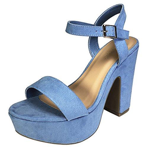 and Chunky Heel Platform Sandal with Quarter Strap, Light Blue Faux Suede, 7.5 B (M) US (Platform Light)