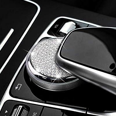 MAXDOOL Bling Accessories Metal Modified Center Console Multimedia Control Button Knob Trims Cover Emblems Stickers for Mercedes Benz A B E GLK GLA CLA GLE ML GL Class (47mm Knob Bling): Automotive