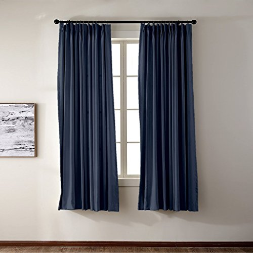- FirstHomer Pinch Pleat Solid Window Treatment Thermal Insulated Blackout Room Darkening Curtains / Drapes for Bedroom,50 Inch Wide By 84 Inch Long,Navy(One Panel)