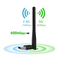 Wireless USB Adapter,Wavlink WiFi Dongle Dual Band WiFi Adapter Max Speed to 600Mbp,Antennas IEEE802.11ac 2.4GHz/5GHz Ethernet Network (Black)