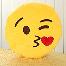Emoji Smiley Emoticon Yellow Round Cushion Pillow Soft Toy Mochimoru