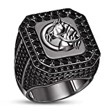 TVS-JEWELS Glorious Balck Rhodium Plated Sterling Silver Black Stone Horse Wedding Anniversary Ring (10.75)