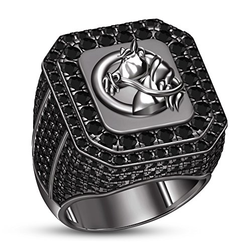 TVS-JEWELS Glorious Balck Rhodium Plated Sterling Silver Black Stone Horse Wedding Anniversary Ring (10.75) by TVS-JEWELS