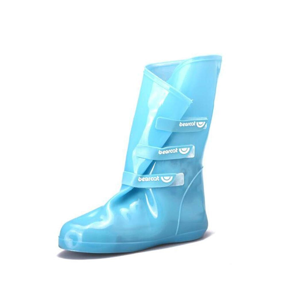 WUZHONGDIAN Shoe Cover, Made of Environmentally Friendly PVC, Rainproof and Non-Slip high Shoe Cover, Adjustable, Reusable Shoe Cover (Color : Blue, Size : L(39/40)) by WUZHONGDIAN