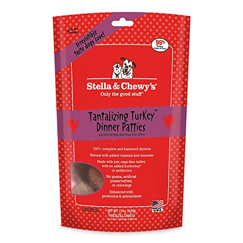 Stella & Chewys Freeze Dried Dog Food,Snacks 14-OZ Bag With Hot Spot Pet Food Bowl - Made in USA (Tantalizing Turkey)