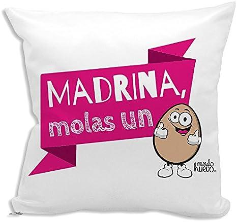 Cojín + Relleno. Madrina, molas un Huevo. 42,5 x 42,5 cm. Agradable Tacto Algodón