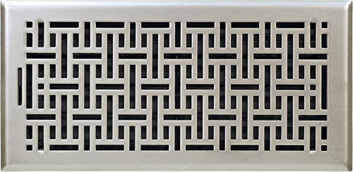 Accord Ventilation AMFRSNB614 Wicker Design Floor Register, Satin Nickel, 6