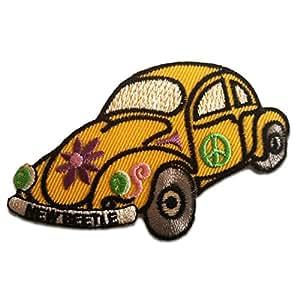Amarillo New Beetle Con los símbolos de paz de la flor del Hippie Car Patch '9.0 x 5.5 cm'- Parche Parches Termoadhesivos Parche Bordado Parches Bordados Parches Para La Ropa Parches La Ropa Termoadhesivo Apliques Iron on Patch Iron-On Apliques