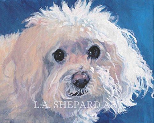A Bichon Frise dog art portrait print of an LA Shepard painting 8x10