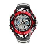 Winhurn Fashion Children Boy LED Alarm Date Digital Sports Wrist Watch Waterproof (Red)