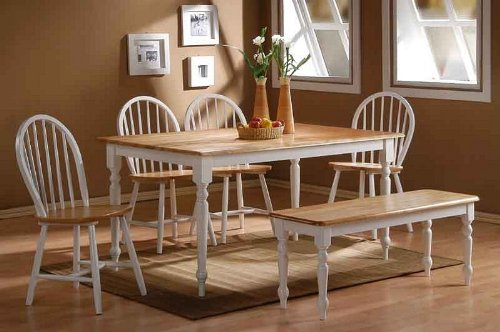 Amazon.com   5pc Casual Dining Table And Chairs Set With Natural Top In  White Finish   Table U0026 Chair Sets