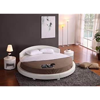 Panda Round Modern Platform Bed White