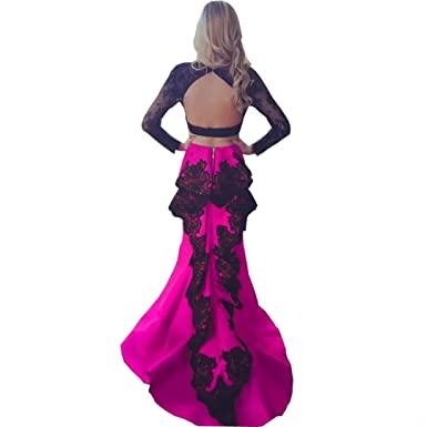 ddb2bd55fb457 Chady Two Pieces Prom Dresses 2018 Long Sleeves Lace Appliques Backless  Black and Fuchsia Mermaid Pageant