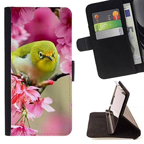 God Garden - FOR Apple Iphone 5 / 5S - Lovely Japanese White Eye Bird - Glitter Teal Purple Sparkling Watercolor Personalized Design Custom Style PU Leather Case Wallet Fli