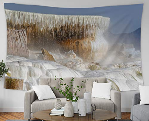 Pamime Bedroom Wall Hanging Tapestry, Home Decor Tapestry Mammoth Hot Springs is A Large Complex Hot Springs A Hill Travertine Dorm Room Bedroom Living Room 60X50 Inches(150X130Cm) Bedspread Inhouse ()