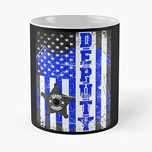 Sheriff Deputy Blue Thin Line American Flag Vintage - 11oz Novetly Ceramic Cups, Unique Birthday And Holiday Gifts For Mom Mother Wife Women.
