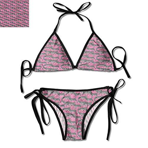 (Fashion Push-up Pink Zebra,Wild Animals Pastel One Size Bikini Beach)
