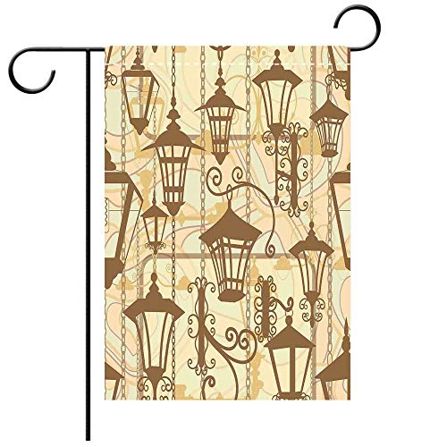 Garden Flag Double Sided Decorative Flags Beige Graphic of Old Town Wrought Lanterns Nostalgic Style Urban Life Boho Art Deco Decorative Beaver Green Beige Best for Party Yard and Home Outdoor Decor