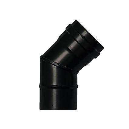 Wolfpack 22013100 Codo estufa pellet vitrificado (diámetro 80 mm, 45°)